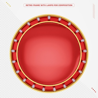Retro 3d round frame with unlit led lamps for composition
