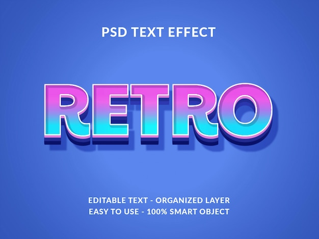 Retro 3d text style effect mockup with gradient color style