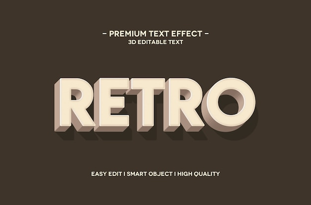 Retro 3d text style effect template