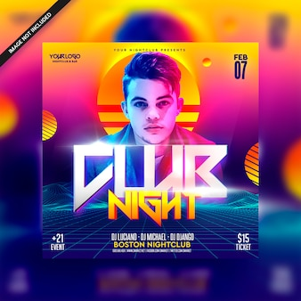 Retro 80 club night futuristic dj flyer