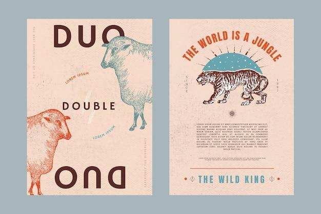 레트로 동물 포스터 psd 편집 가능한 템플릿 세트