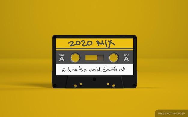 Retro audio cassette tape mockup with label