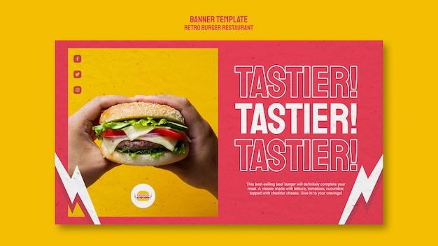 Retro burger restaurant banner style