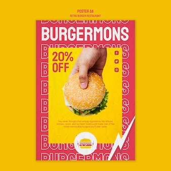 Retro burger restaurant poster design