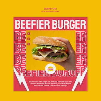 Retro burger restaurant square flyer style