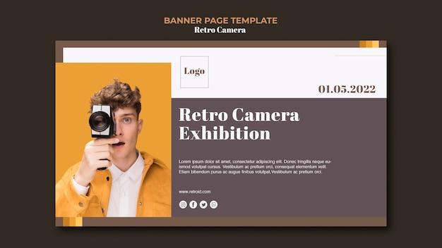 Retro camera concept banner style