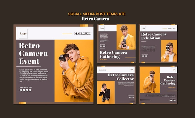 Retro camera concept social media post