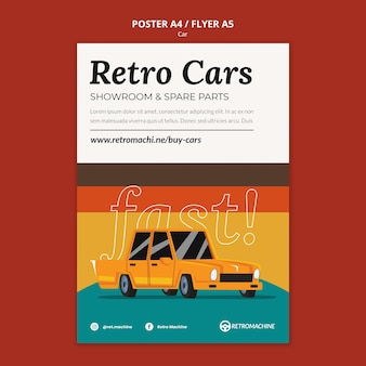 Retro cars showroom and spare parts poster template