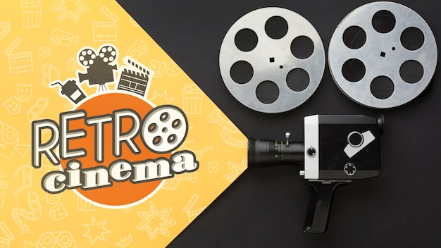 Retro cinema with vintage camera and film