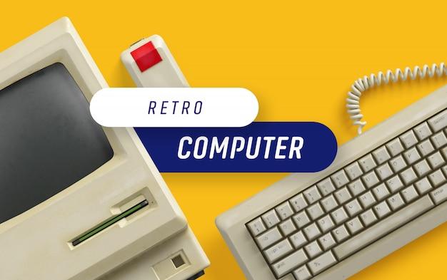 Ретро компьютерная сцена Premium Psd