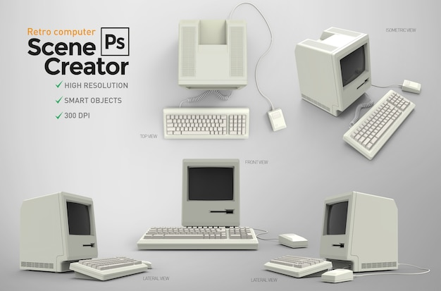 Retro computer. scene creator. resource.