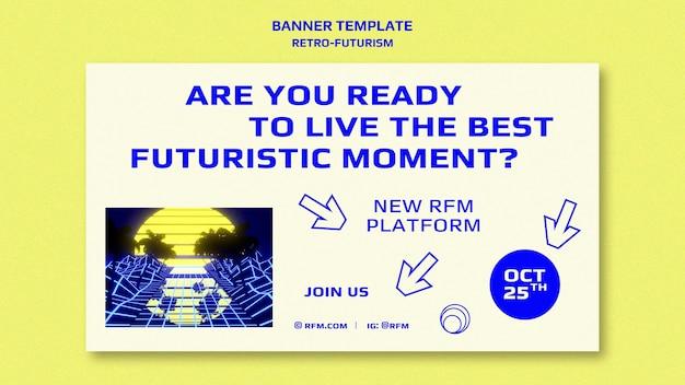 Modello di banner retro-futurismo Psd Gratuite