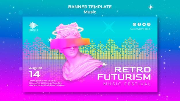 Retro futuristic horizontal banner template for music fest