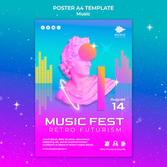 Retro futuristic vertical poster template for music fest