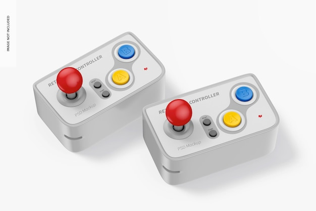 Retro game controller mockup perspective