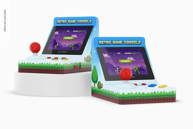 Ретро портативные игровые приставки, макет, перспектива