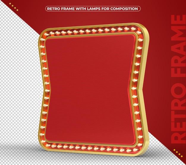 Retro led frame for banner with golden aluminum edges rendering
