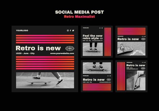 Retro maximalist social media posts template