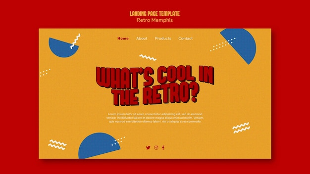 Retro memphis landing page design