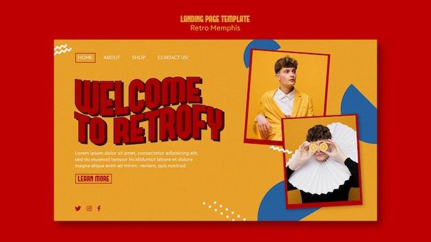Retro memphis landing page web template
