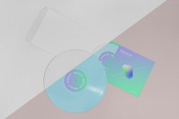 레트로 모형 비닐 디스크 추상 포장