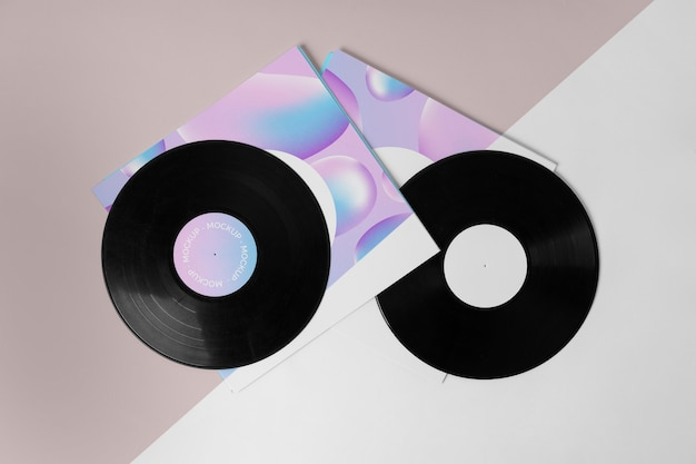 Retro mock-up vinyl disk abstract packaging