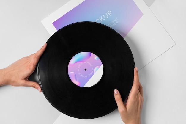 Imballaggio astratto del disco di vinile di mock-up retrò