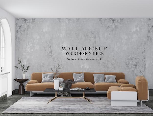 Retro modern apartment wall mockup with minimalist furniture