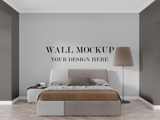 レトロでモダンな寝室の壁のモックアップ3dレンダリング