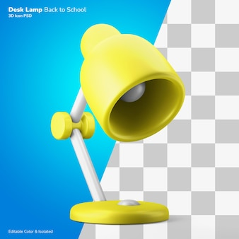 Retro modern study desk lamp 3d icon rendering editable color isolated