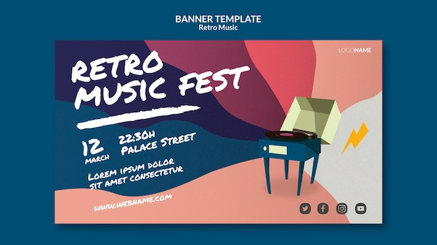 Retro music banner template style