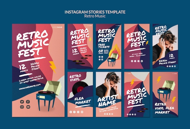 Retro music instagram stories