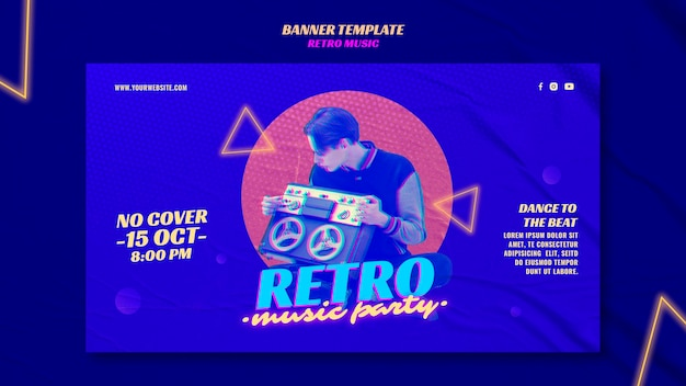 Retro music party banner template