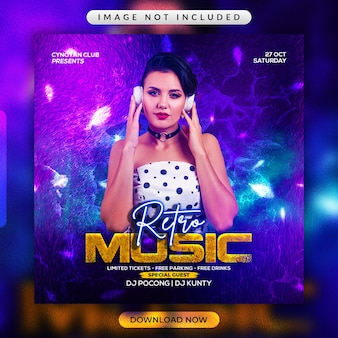 Retro music party flyer or social media promotional template