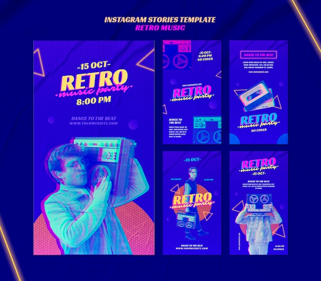 Retro music party instagram stories template