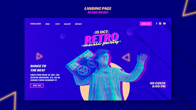 Retro music party landing page template