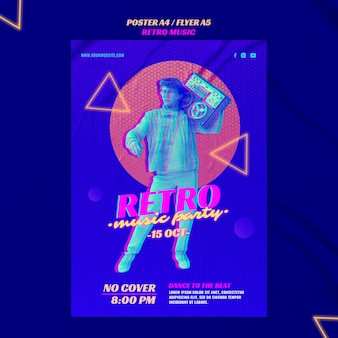 Retro music party poster template