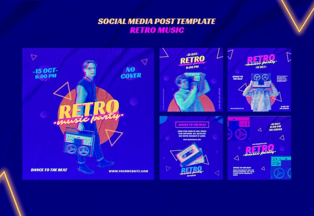 Retro music party social media post template