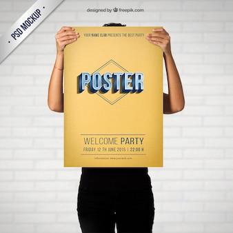 レトロなパーティーのポスターのモックアップ