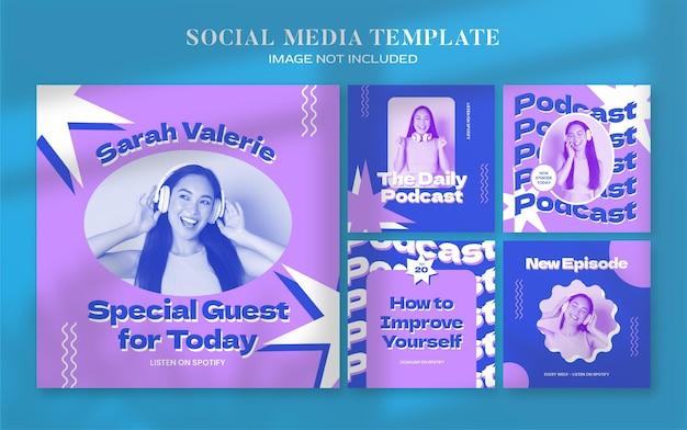 Ретро-подкаст, баннер в социальных сетях и шаблон сообщения в instagram