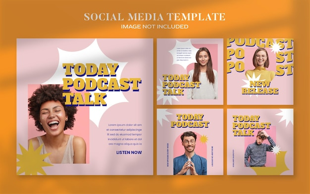 Retro podcast social media banner and instagram post template
