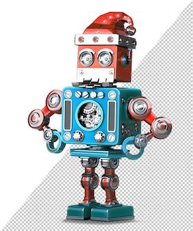 산타의 모자와 수염을 가진 레트로 로봇