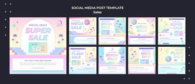 레트로 판매 소셜 미디어 게시물