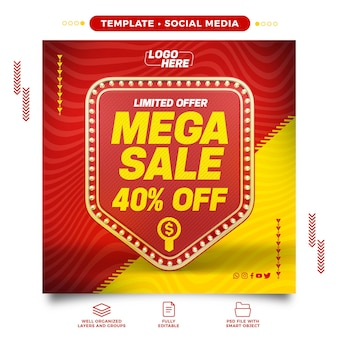 Retro social media template light mega sale with 40 discount