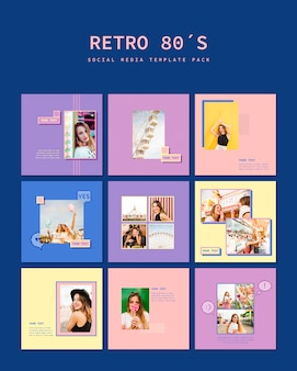 Retro social media template pack