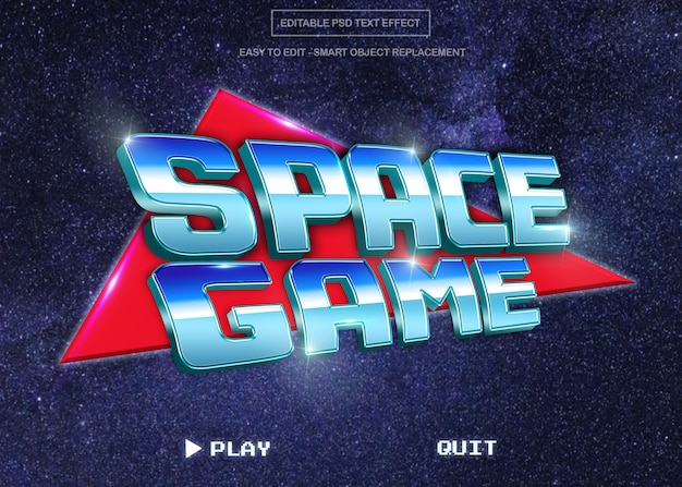Retro space game text style