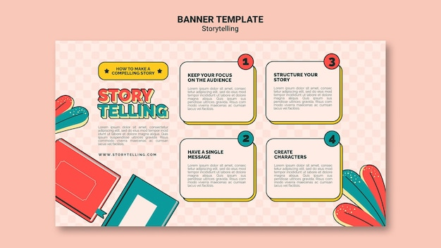 Retro storytelling banner template