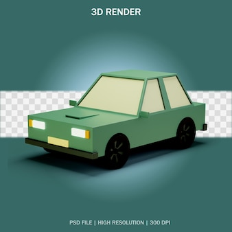 Retro style car with transparent background in 3d design