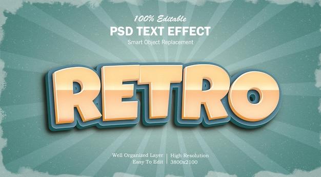 Редактируемый текстовый эффект psd в стиле ретро
