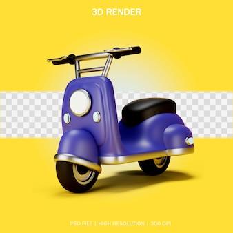 3d 디자인의 투명한 배경이 있는 레트로 스타일 스쿠터